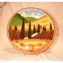 Tuscan landscape round plate 36