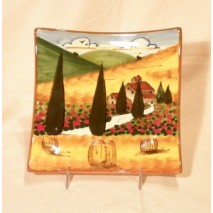 Tuscan landscape square plate 15