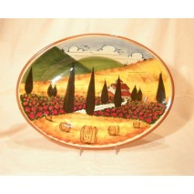 Tuscan landscape oval tray 36