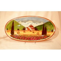 Tuscan landscape oval tray 41